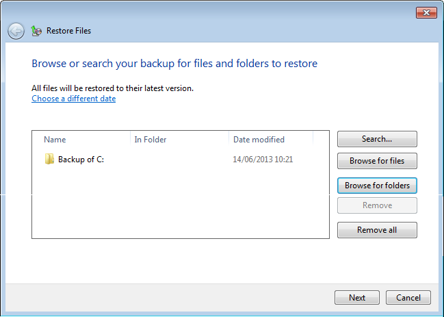 In this example selecting Backup of C: will restore all the files that were backed up.