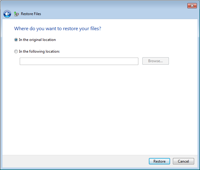 Choose if you want to restore files to their original folder structure location or to a new location.