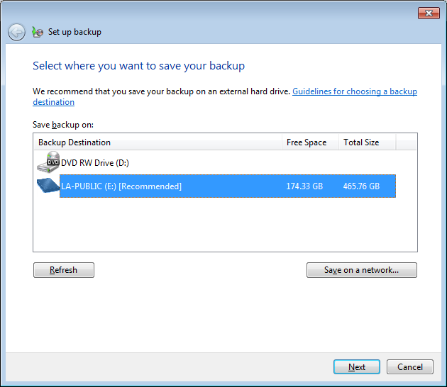 The Backup and Restore window will open Figure 5: Backup and Restore Click Set up backup You will be asked where you