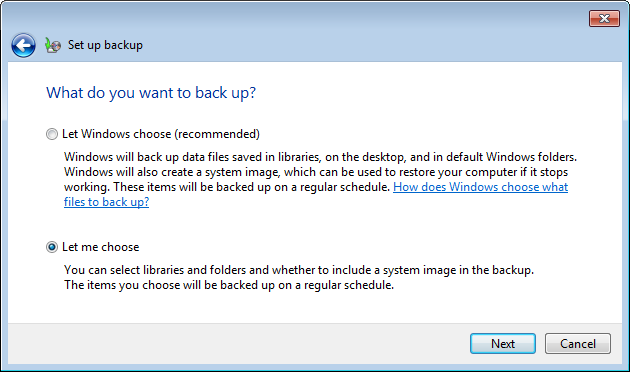 You will be asked: What do you want to back up? At this point you could let windows decide what files to save, however it will ignore any files you may have under the root of C.