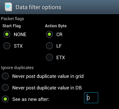 Scanner Options Set the built-in clock for the connected Bluetooth scanner. Data Filter Options Set the Start Flag, Action Byte, and options for duplicate scans.