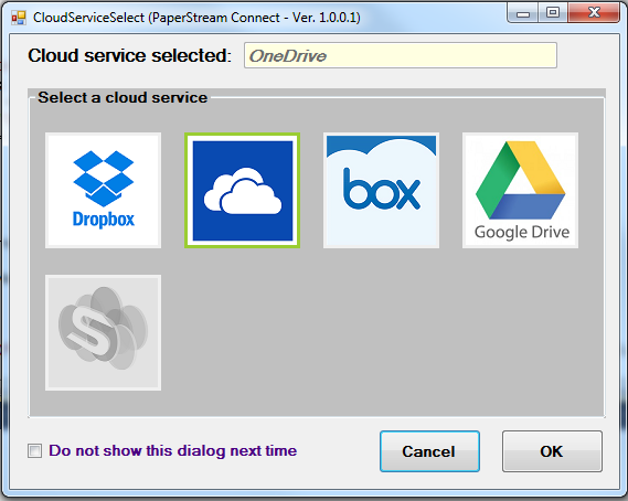 Selecting a Cloud Service When you complete a scan in PaperStream Capture for the first time using the cloud service Document Profile, the Cloud Service Select window appears.