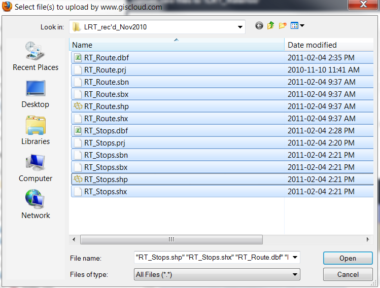 11. You are going to import two shapefiles from E:\GISCloud. Select all files (.dbf,.prj,.sbn,.sbx,.