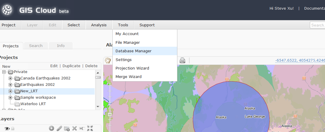 Database Manager 13. To perform a GIS analysis, PostGIS database format is required. You will need to upload files from File Manager into Database Manager.