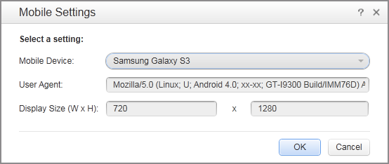 User Agent string example Sample User Agent for Samsung Galaxy S3 Mozilla/5.0 (Linux; U; Android 4.