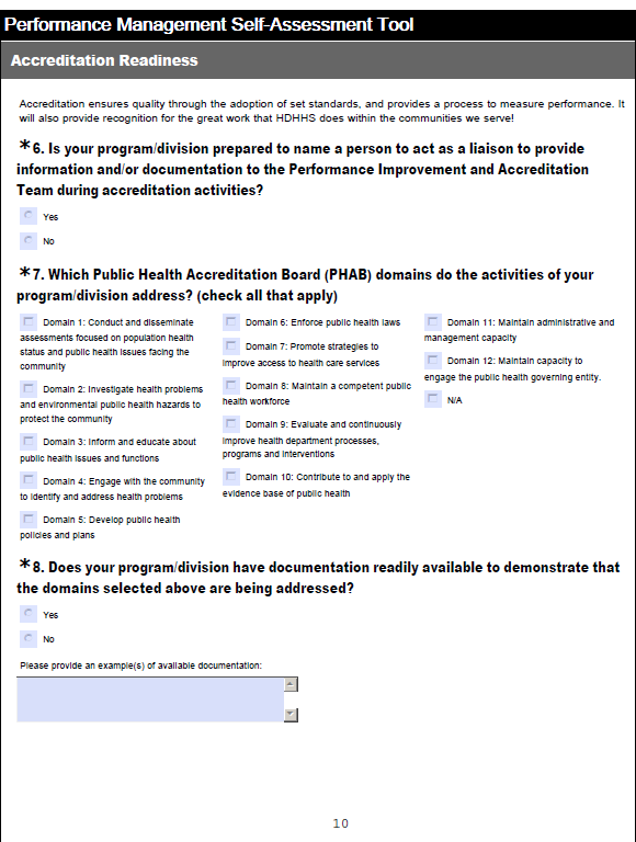 Houston Department of Health and Human Services Houston s Turning Point Self Assessment Tool, adapted into an online survey, added an accredita on readiness and demographic sec on to address internal