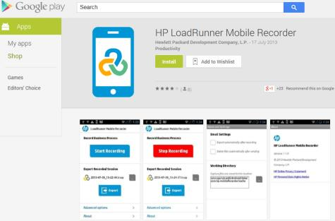 New mobile recording capabilities in LoadRunner/Vugen HP LoadRunner Mobile Recorder app Android app available from Google Play Store Enables
