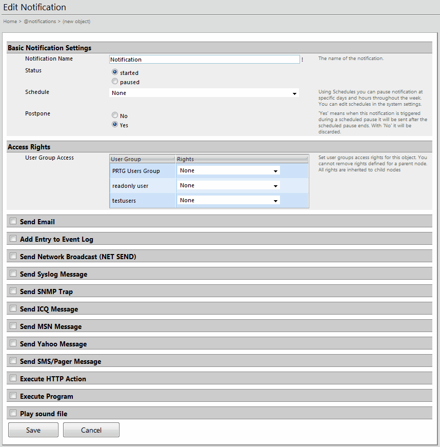 72 PRTG Network Monitor 7.1 - User Manual You can enable one or more communication types by checking the respective checkboxes. Then, fill out the specific settings for each type.