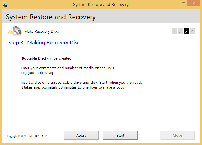 3. In Step 2: Confirm your Recovery Disc., click Next. 4. In Step 3: Making Recovery Disc.