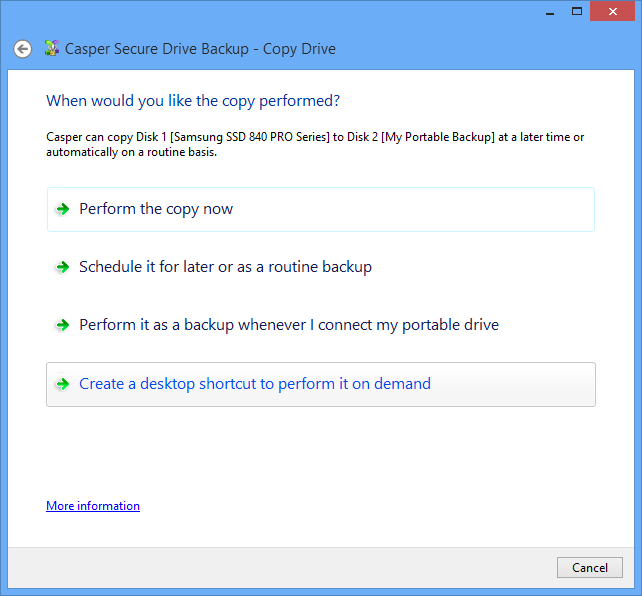 Example 5: Performing a Bootable Backup On-Demand You can create a desktop shortcut to perform a bootable backup on-demand.