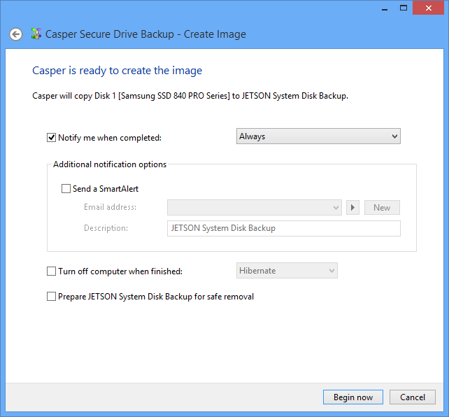 Performing a Restore-Point Backup On-Demand After creating a desktop shortcut, you can use the Casper shortcut