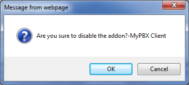 2 MyPBX Client Addon Settings You can disable/enable/update the addon after it is activated successfully.