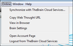 Online Menu Options Online Menu Options TheBrain 8 has a new Online menu in your toolbar. Now you can access your Cloud Services settings easier from your desktop client and share Thoughts quicker.