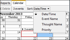 New Calendar Event Sorting TheBrain lets you set reminders and create events for all your key deadlines. TheBrain 8 features new sorting of all events.