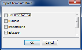 Template Brains Figure 4. A Brain Created from a Template 2. The Import Template Brain Menu will appear. From here you can then choose what template you want to import. Figure 5.