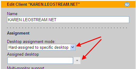 Leostream Connection Broker Administrator s Guide 4. Select the desktop you want to assign to this client from the Assigned desktop drop-down menu.