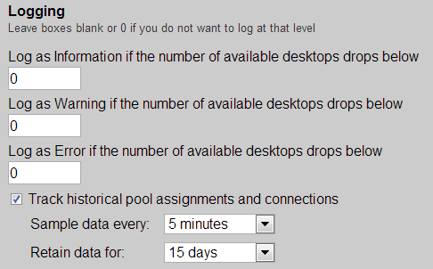Leostream Connection Broker Administrator s Guide Use the edit fields to enter lower bounds for the number of available desktops in the pool.