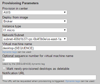 Leostream Connection Broker Administrator s Guide 2. Select the image to use from the Deploy from template drop-down menu.