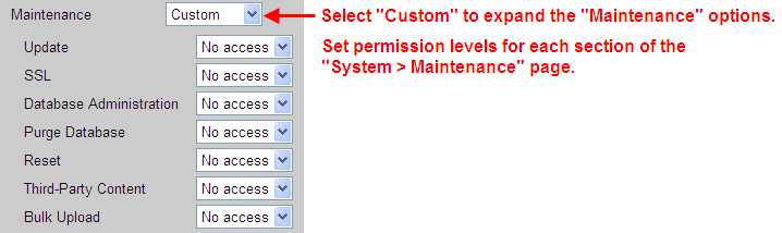 Customizing Access to the Maintenance Page Leostream Connection Broker Administrator s Guide The Maintenance permission allows you to restrict access to individual sections of the > System >
