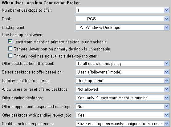 Chapter 11: Configuring User Experience by Policy offered from the primary pool has a running Leostream Agent by selecting Yes, only if Leostream Agent is running from the Offer running desktops from