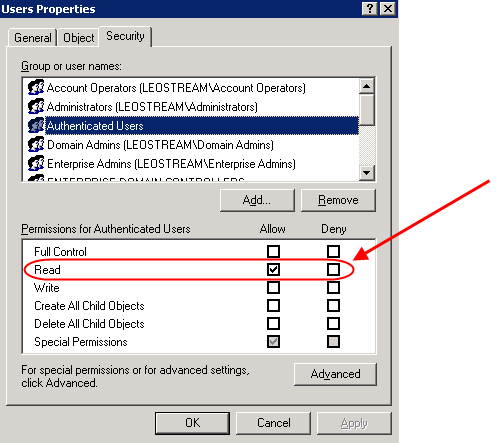 Chapter 13: Authenticating Users 1. In the Active Directory Users and Computers dialog, right-click on the Users node in the console tree. 2. Select Properties from the right-click menu. 3.