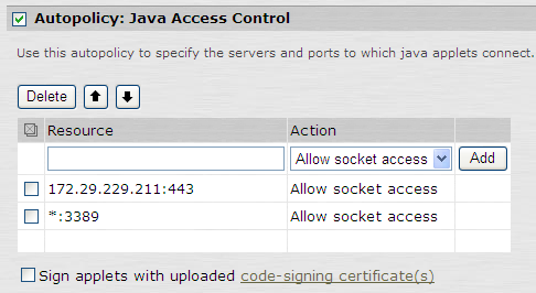 Leostream Connection Broker Administrator s Guide a. Click the Show ALL autopolicy types >> button b. Check the Autopolicy: Java Access Control option.