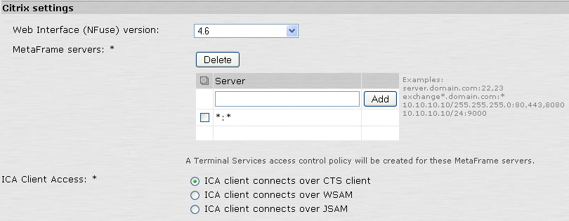 Leostream Connection Broker Administrator s Guide 8. In the Citrix settings section: a. In the MetaFrame servers section, for the Server address, enter the following text. *:* b. Click Add. c.