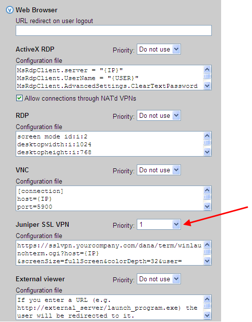 Chapter 16: SSL VPN Integration 2. Select 1 from the Priority drop-down menu for Juniper SSL VPN in the Web Browser section, as shown in the following figure. 3.