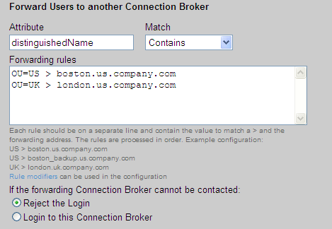 Leostream Connection Broker Administrator s Guide Value > Destination The Connection Broker tests the value on the left side of the greater than sign against the attribute entered in the Attribute
