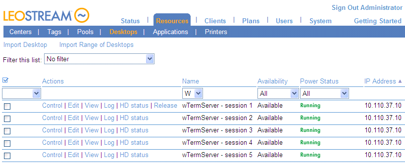 Chapter 5: Understanding Connection Broker Centers Modifying the Number of Available Sessions You can add or remove sessions after the center is added, as follows. 1.