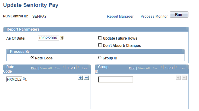 Administering Seniority Pay Chapter 5 Update Seniority Pay page Update Future Rows Select to update all existing future effective-dated rows (rows that have an effective date later than the as of