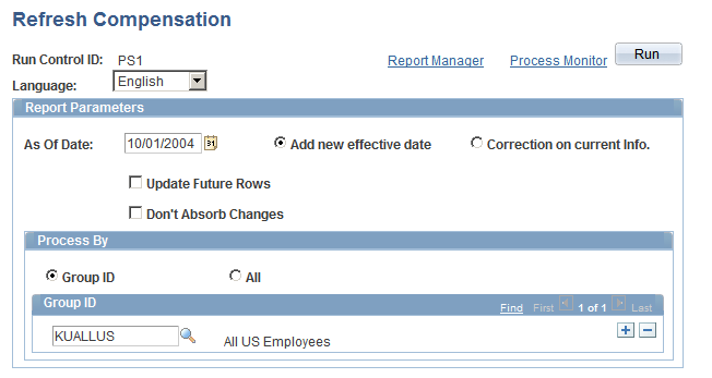 Chapter 6 Refreshing Worker Compensation Information Page Used to Refresh Worker Compensation Packages Page Name Definition Name Navigation Usage Refresh Compensation RUNCTL_CMP015 Workforce
