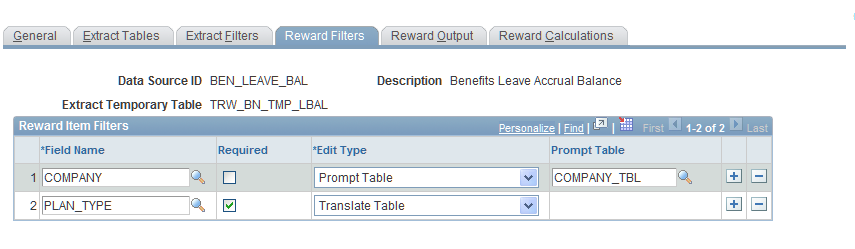Implementing the Total Rewards Statement Extract Filter Edit Filter Chapter 7 Display only field. The extract filter is the filter text specified for the filter type.