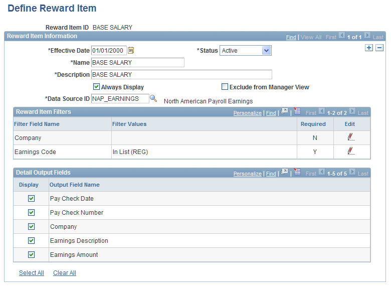 Implementing the Total Rewards Statement Chapter 7 Define Reward Item page 70 Reward Item ID A unique, user-specified identifier for the reward item, this field can support a maximum of 15 characters.