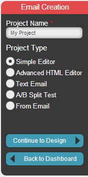 5. You will be taken to the Setup Project page where you can choose from five options. The Simple Editor is perfect for creating basic email messages that include links, images and text.