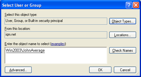 The group was found and can be confirmed with OK 18. The group name is inserted 19. Make sure that the option Windows authentication is selected. In cases of exception, e.g. if the client is not merged in a domain, however you have to use the SQL authentication.