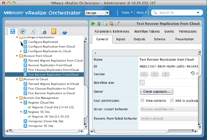vrealize Orchestrator Plugin Workflows included plugin Configure replication to the cloud Configure