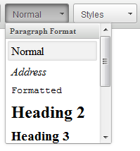 Page 7 ADDING HEADERS To style headers for your body copy, highlight the text you want to format and click on the button that says Normal on the toolbar. That will give you a drop down menu.