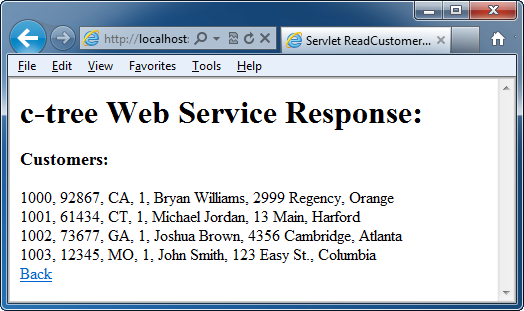 Tutorial c-treeace Web Service Using Java 1.7 Try it out... We will test our Web Service using the web page we just made.