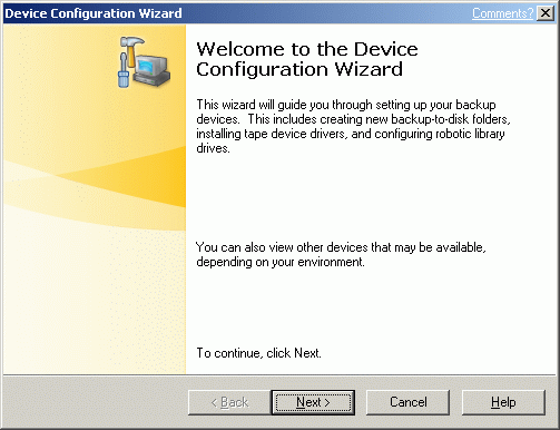 The Device Configuration Wizard window will appear.