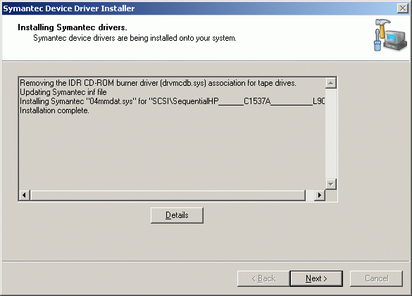 The installer indicates the drivers have been successfully installed.
