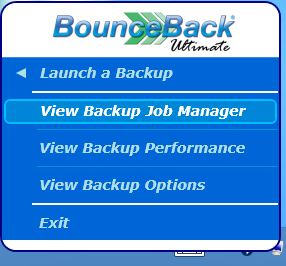 Launching an Incremental Backup You can perform an incremental backup of an existing backup job by hovering your mouse over the Launch a Backup menu found in the Backup Monitor.