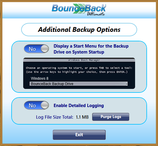 View Backup Options The Backup Options menu in BounceBack Ultimate 14.