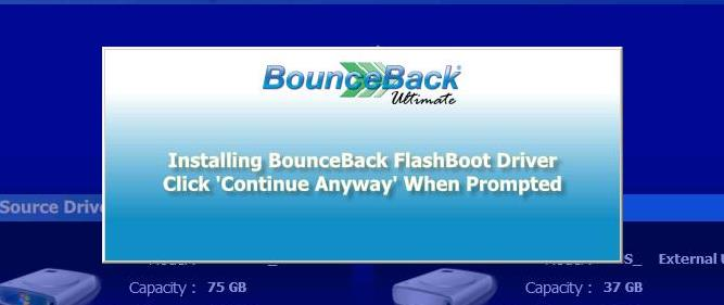 The BounceBack FlashBoot driver is installed on the USB backup device in order to help improve USB boot on computers with legacy operating systems.