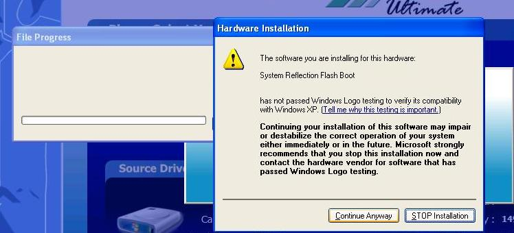 Then click on the Continue Anyway button. Note: There are instances when BounceBack will prompt the user to reboot the system after installing the BounceBack FlashBoot driver.