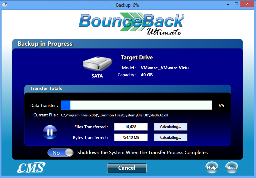 BounceBack Ultimate will then partition and format the backup device