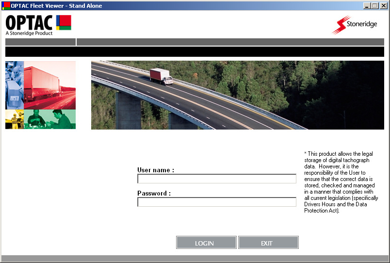 5 Logging In After loading OPTAC and completing the initial setup tasks, the login screen will appear. Here you can enter your user name and password to access your account. 5.1 Login Screen Figure 5.