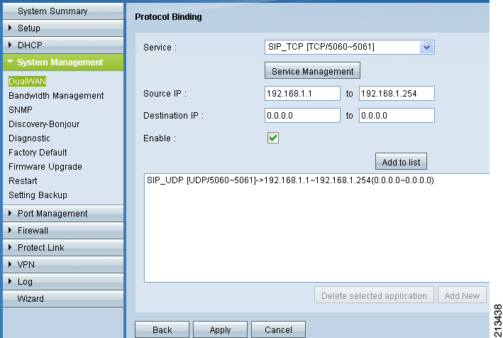 Figure 5 Enabling Load Balance (Auto Mode) Step 4 (Optional) To bind specific protocol traffic to the WAN1 interface, scroll down to the Protocol Binding section, select the protocol from the Service