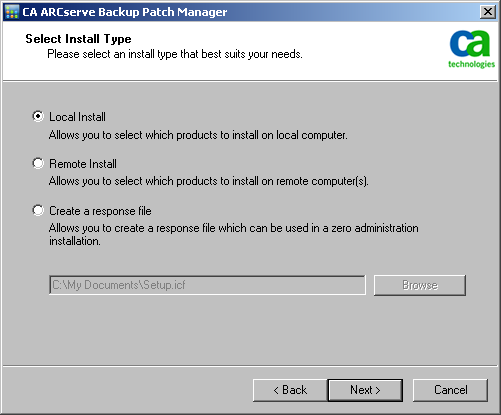Install CA ARCserve Backup Patch Manager 3. As part of the installation, you will be asked to Select the Installation Type.