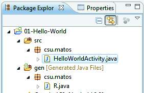Testing Setup Example: Hello World OBSERVATION: Creating an Android Project using Eclipse The New Android Project Wizard creates the following folders and files in your new project space: src/